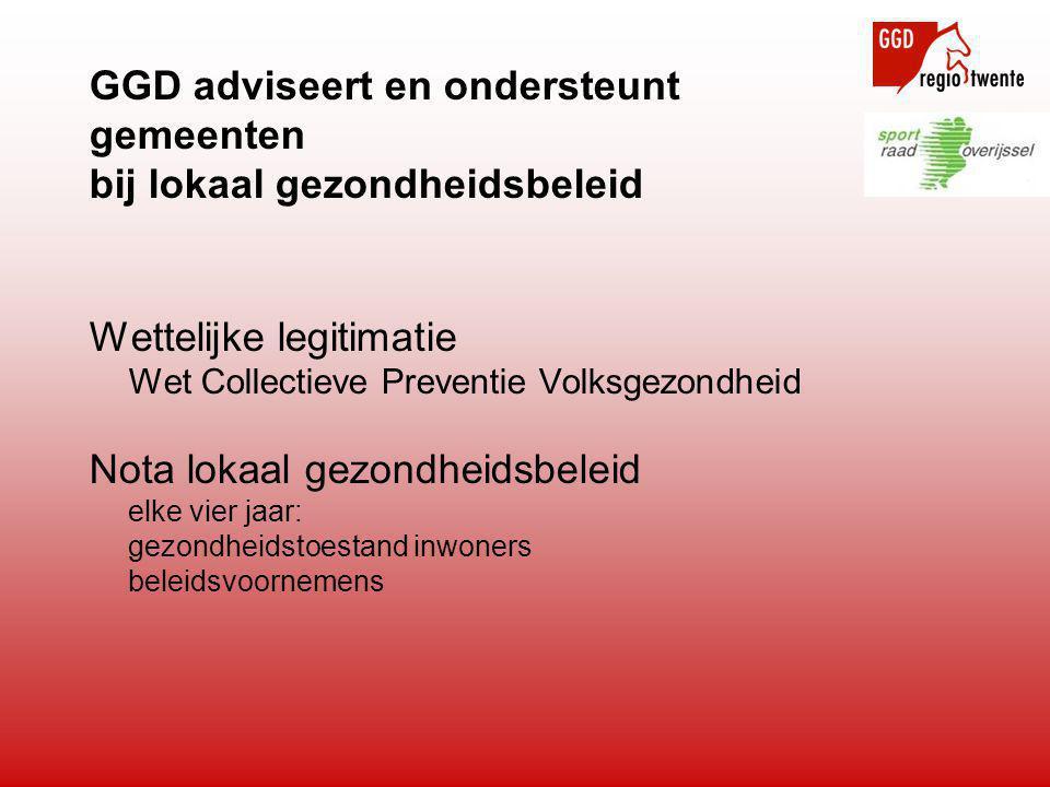 GGD adviseert en ondersteunt gemeenten bij lokaal gezondheidsbeleid Wettelijke legitimatie Wet Collectieve Preventie Volksgezondheid Nota lokaal gezon