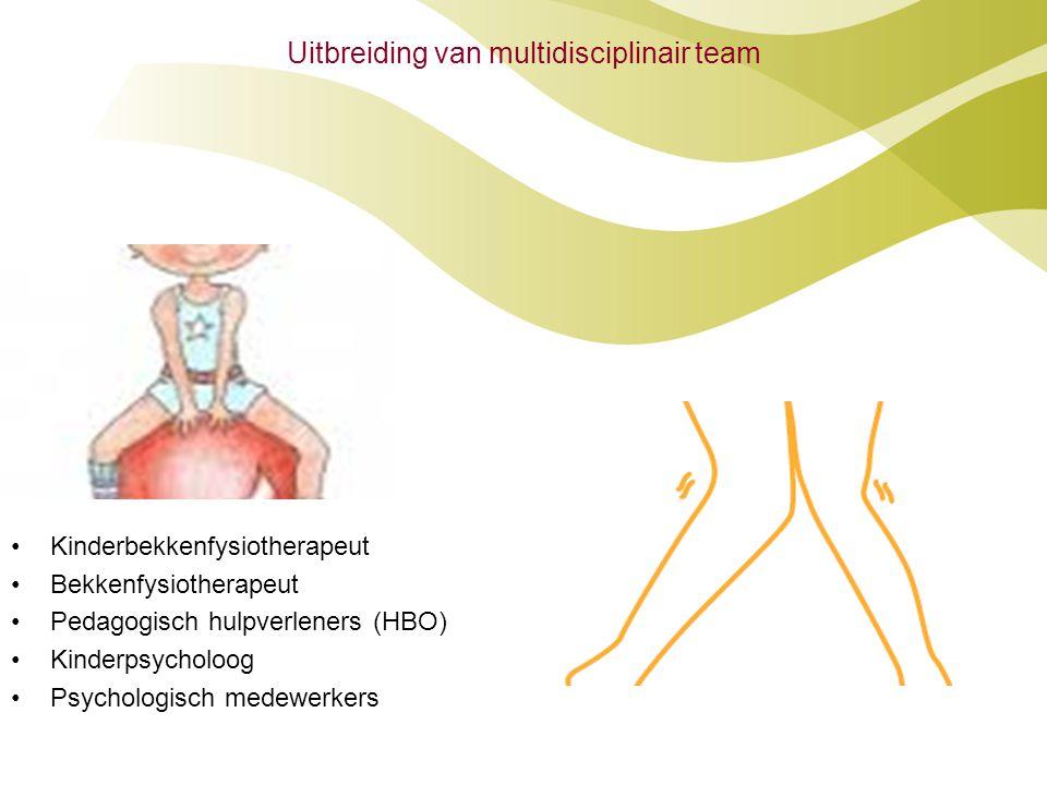 Uitbreiding van multidisciplinair team •Kinderbekkenfysiotherapeut •Bekkenfysiotherapeut •Pedagogisch hulpverleners (HBO) •Kinderpsycholoog •Psycholog