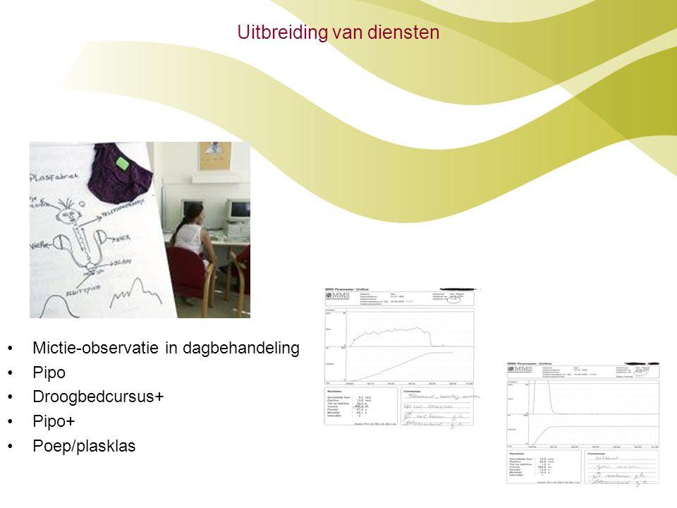 Uitbreiding van diensten •Mictie-observatie in dagbehandeling •Pipo •Droogbedcursus+ •Pipo+ •Poep/plasklas