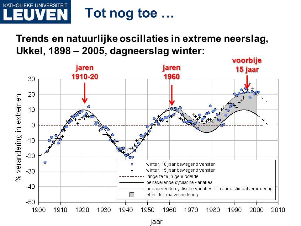 Tot nog toe … Trends en natuurlijke oscillaties in extreme neerslag, Ukkel, 1898 – 2005, dagneerslag winter: voorbije 15 jaar jaren1960jaren1910-20