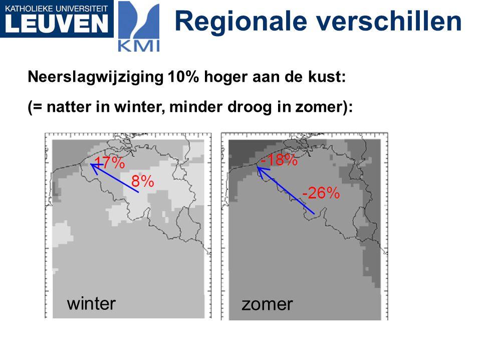 Regionale verschillen Neerslagwijziging 10% hoger aan de kust: (= natter in winter, minder droog in zomer): winter zomer