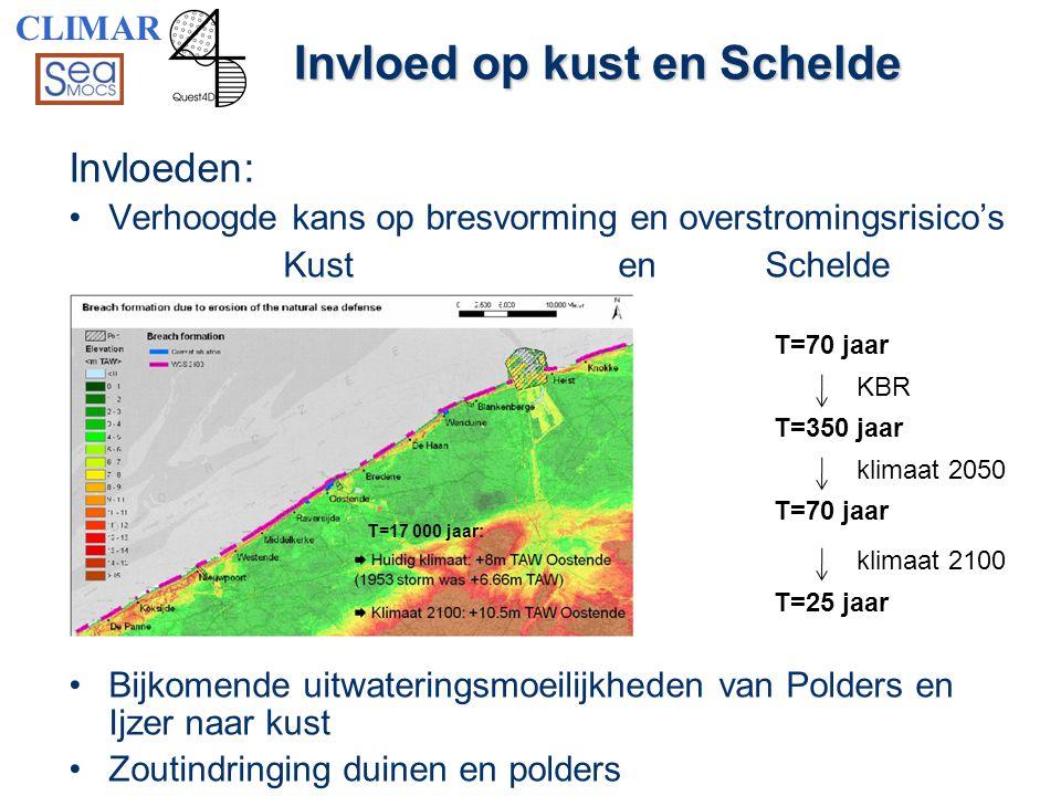 Invloed op kust en Schelde Invloeden: •Verhoogde kans op bresvorming en overstromingsrisico's Kust en Schelde •Bijkomende uitwateringsmoeilijkheden va