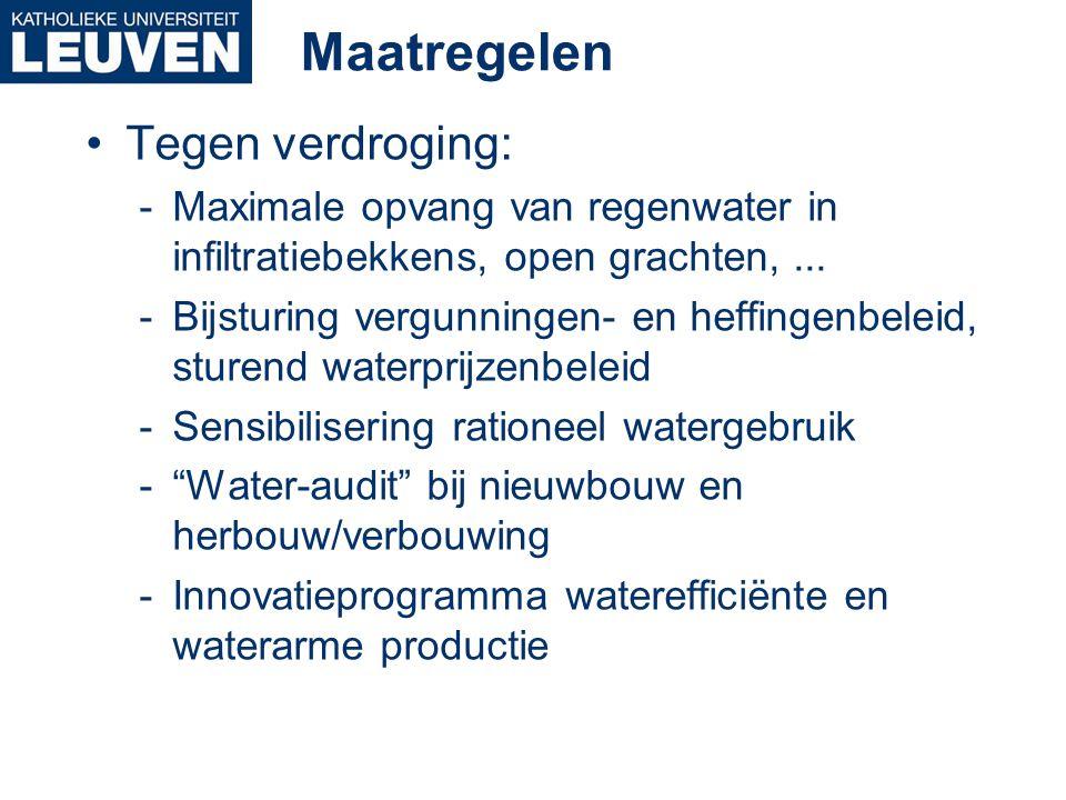 Maatregelen •Tegen verdroging: -Maximale opvang van regenwater in infiltratiebekkens, open grachten,... -Bijsturing vergunningen- en heffingenbeleid,