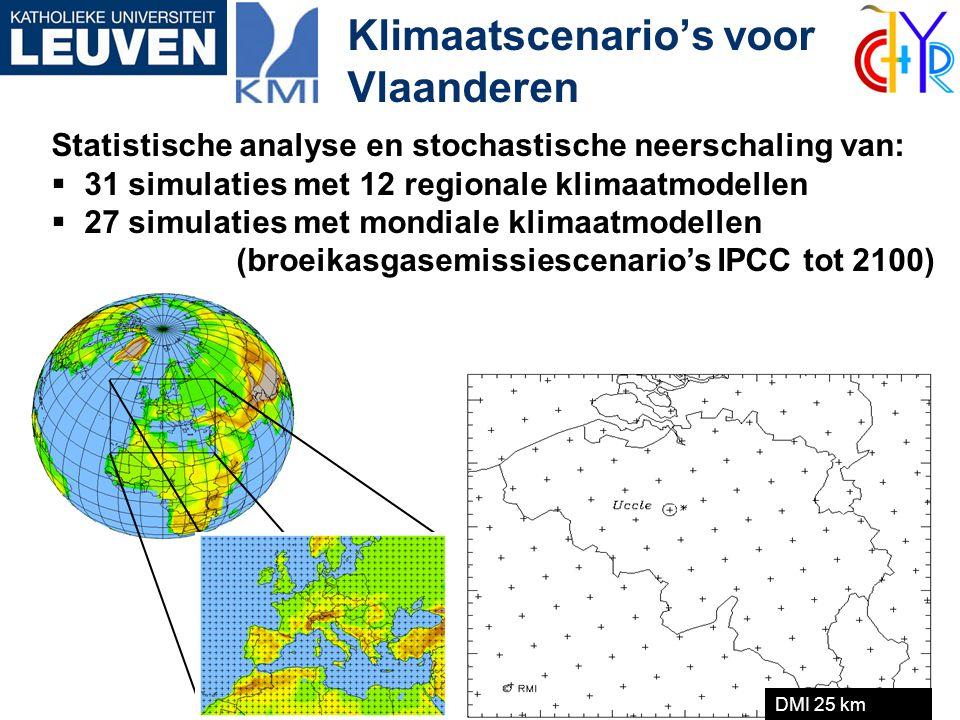 Klimaatscenario's voor Vlaanderen Statistische analyse en stochastische neerschaling van:  31 simulaties met 12 regionale klimaatmodellen  27 simula