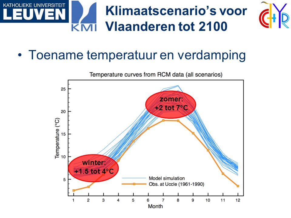 •Toename temperatuur en verdamping Klimaatscenario's voor Vlaanderen tot 2100 winter: +1.5 tot 4°C zomer: +2 tot 7°C