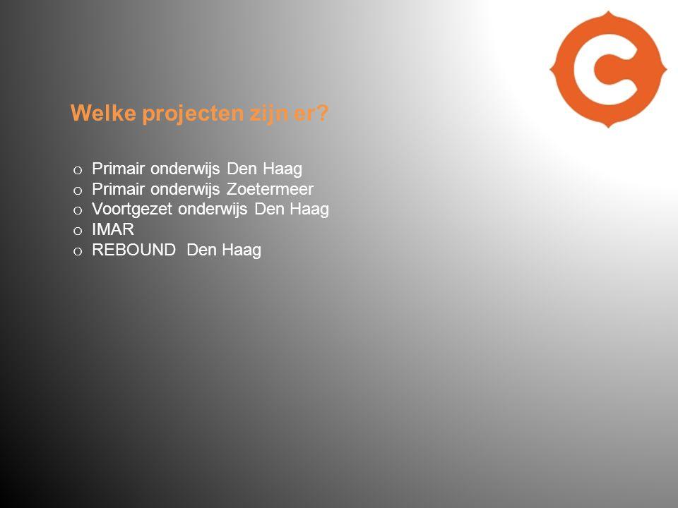 o Primair onderwijs Den Haag o Primair onderwijs Zoetermeer o Voortgezet onderwijs Den Haag o IMAR o REBOUND Den Haag Welke projecten zijn er