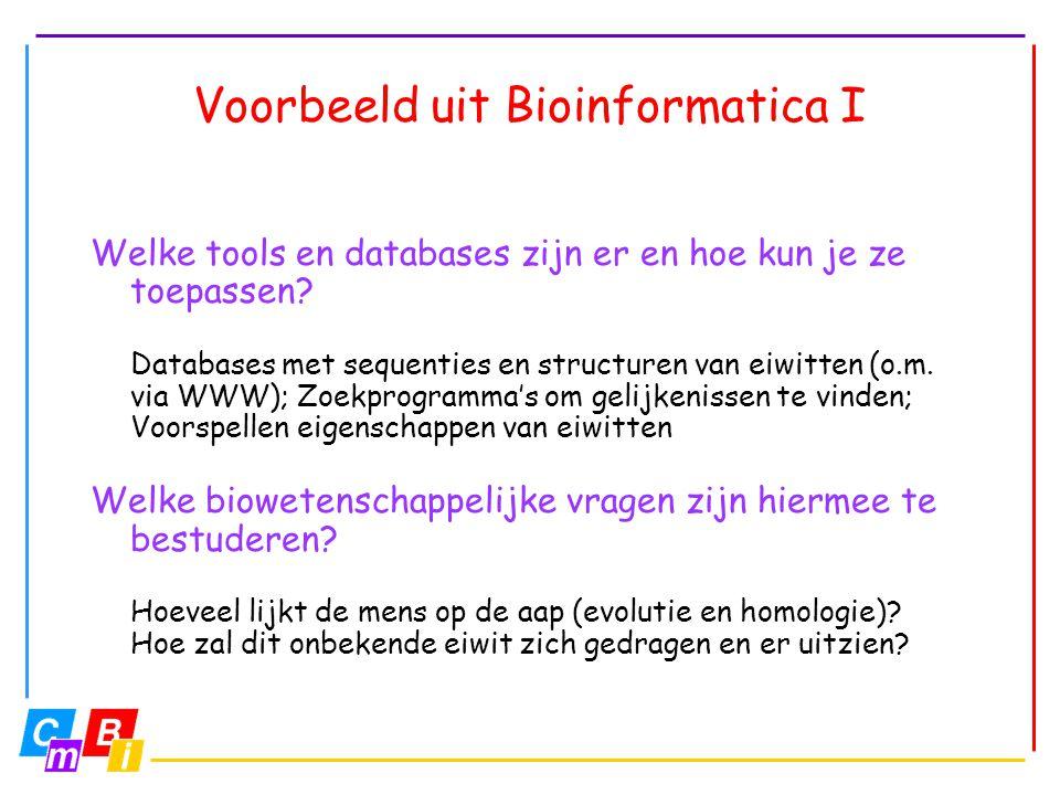 Voorbeeld uit Bioinformatica I Welke tools en databases zijn er en hoe kun je ze toepassen? Databases met sequenties en structuren van eiwitten (o.m.