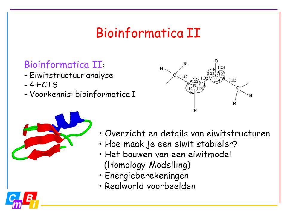 Bioinformatica II • Overzicht en details van eiwitstructuren • Hoe maak je een eiwit stabieler? • Het bouwen van een eiwitmodel (Homology Modelling) •