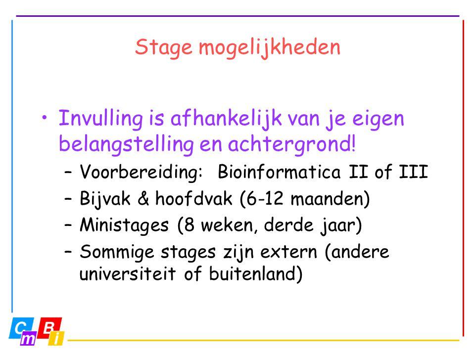 Stage mogelijkheden •Invulling is afhankelijk van je eigen belangstelling en achtergrond! –Voorbereiding: Bioinformatica II of III –Bijvak & hoofdvak