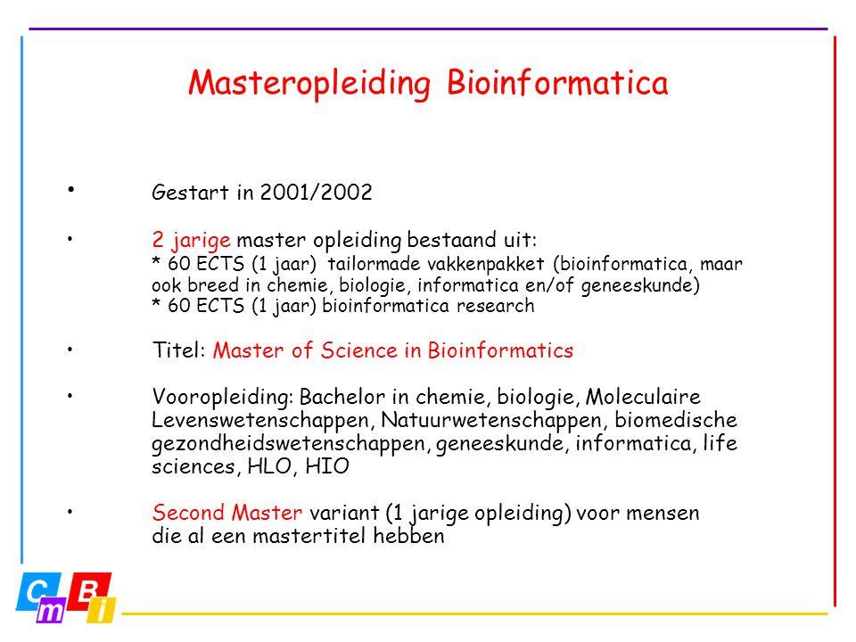Masteropleiding Bioinformatica • Gestart in 2001/2002 •2 jarige master opleiding bestaand uit: * 60 ECTS (1 jaar) tailormade vakkenpakket (bioinformat