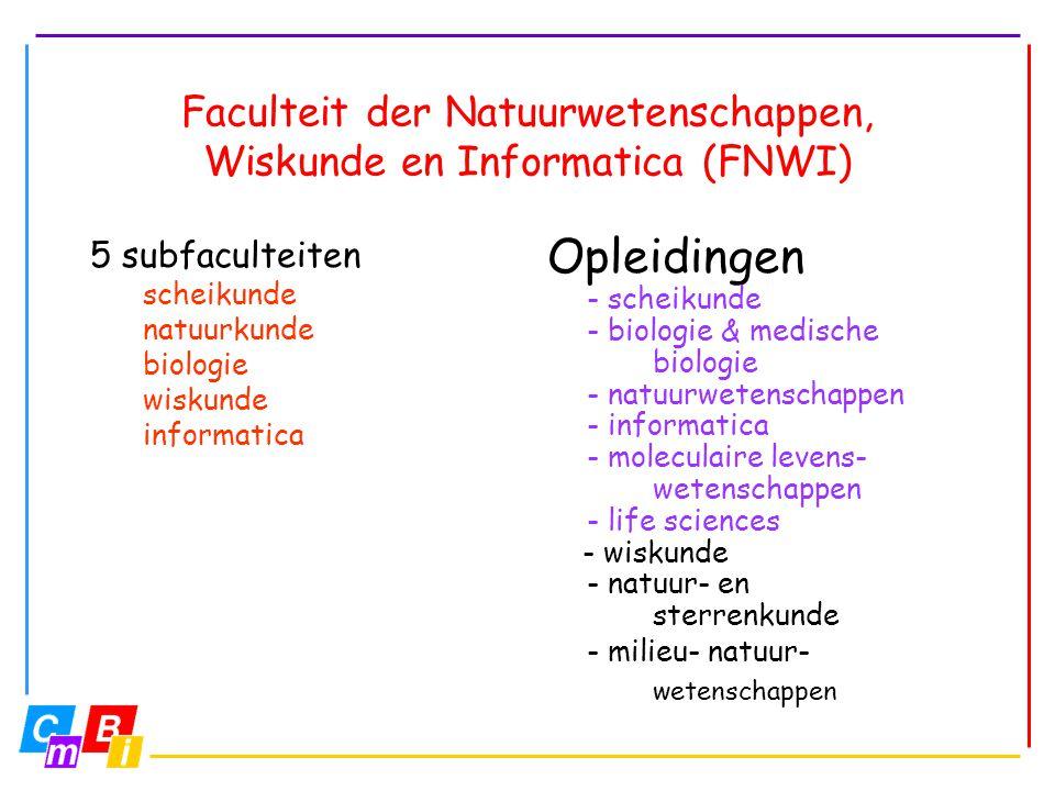 Opleidingen - scheikunde - biologie & medische biologie - natuurwetenschappen - informatica - moleculaire levens- wetenschappen - life sciences - wisk
