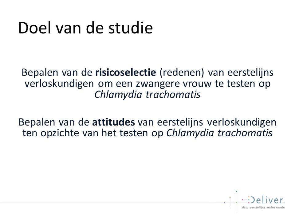 Doel van de studie Bepalen van de risicoselectie (redenen) van eerstelijns verloskundigen om een zwangere vrouw te testen op Chlamydia trachomatis Bepalen van de attitudes van eerstelijns verloskundigen ten opzichte van het testen op Chlamydia trachomatis