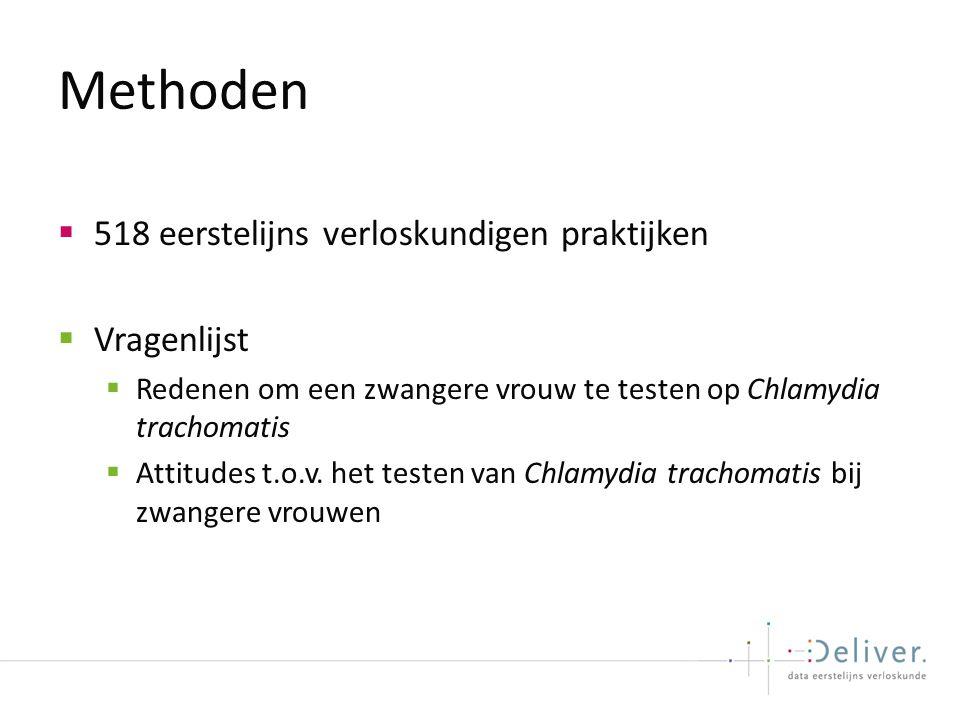 Methoden  518 eerstelijns verloskundigen praktijken  Vragenlijst  Redenen om een zwangere vrouw te testen op Chlamydia trachomatis  Attitudes t.o.v.