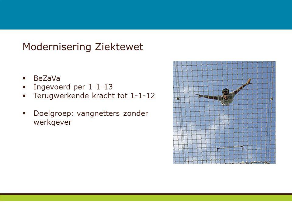 Modernisering Ziektewet  BeZaVa  Ingevoerd per 1-1-13  Terugwerkende kracht tot 1-1-12  Doelgroep: vangnetters zonder werkgever