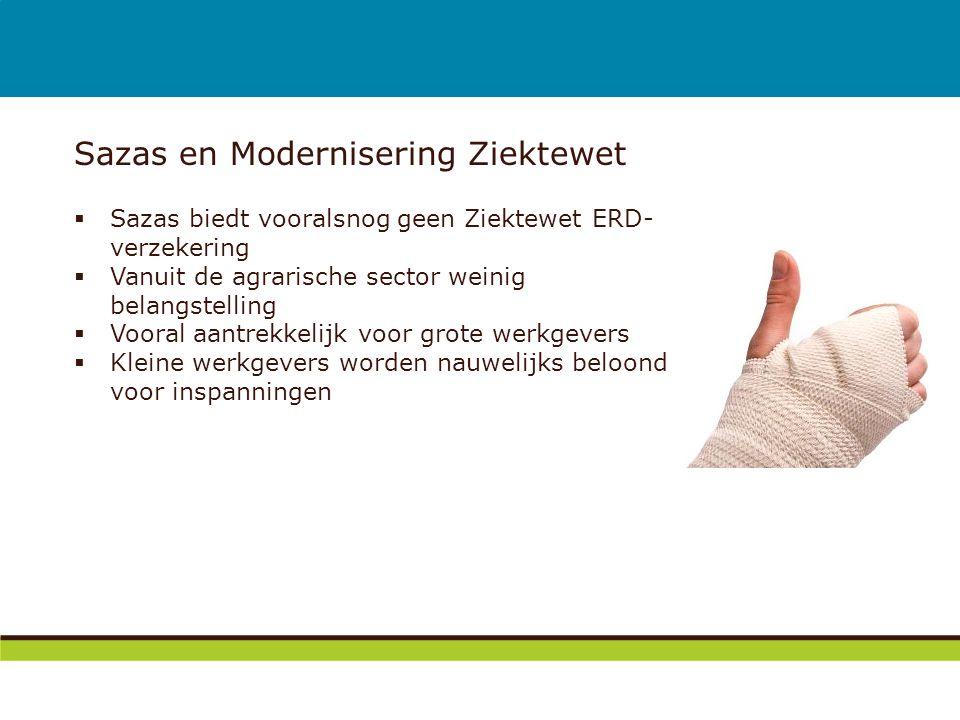 Sazas en Modernisering Ziektewet  Sazas biedt vooralsnog geen Ziektewet ERD- verzekering  Vanuit de agrarische sector weinig belangstelling  Vooral