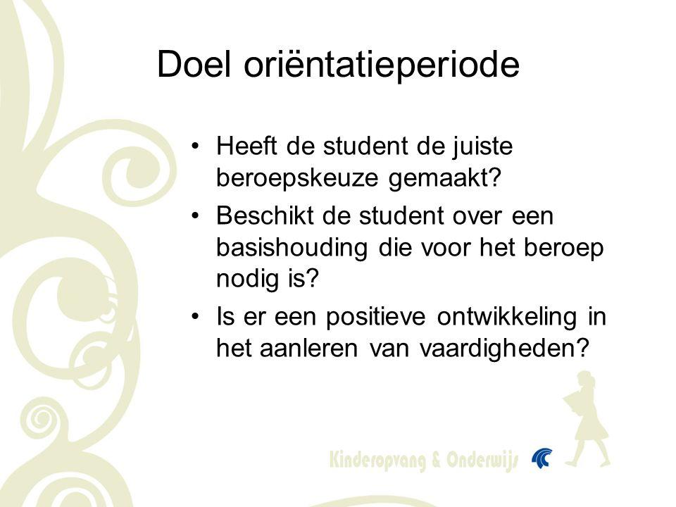 •Heeft de student de juiste beroepskeuze gemaakt? •Beschikt de student over een basishouding die voor het beroep nodig is? •Is er een positieve ontwik