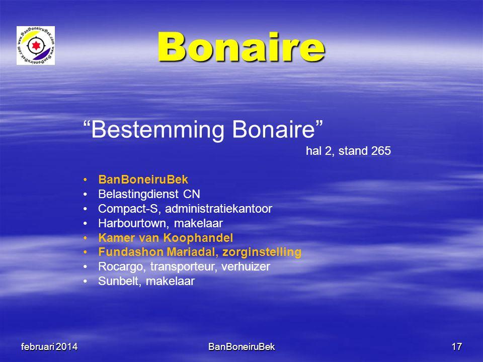 """Bonaire februari 2014BanBoneiruBek17 """"Bestemming Bonaire"""" hal 2, stand 265 •BanBoneiruBek •Belastingdienst CN •Compact-S, administratiekantoor •Harbou"""