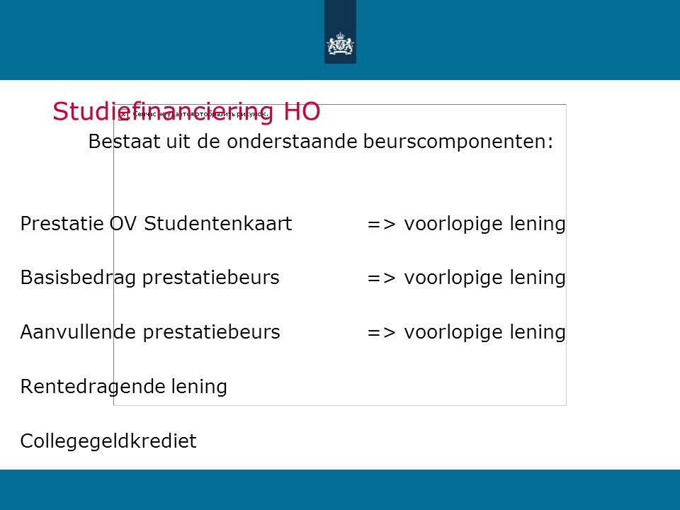Studiefinanciering HO Bestaat uit de onderstaande beurscomponenten: Prestatie OV Studentenkaart => voorlopige lening Basisbedrag prestatiebeurs => voorlopige lening Aanvullende prestatiebeurs => voorlopige lening Rentedragende lening Collegegeldkrediet