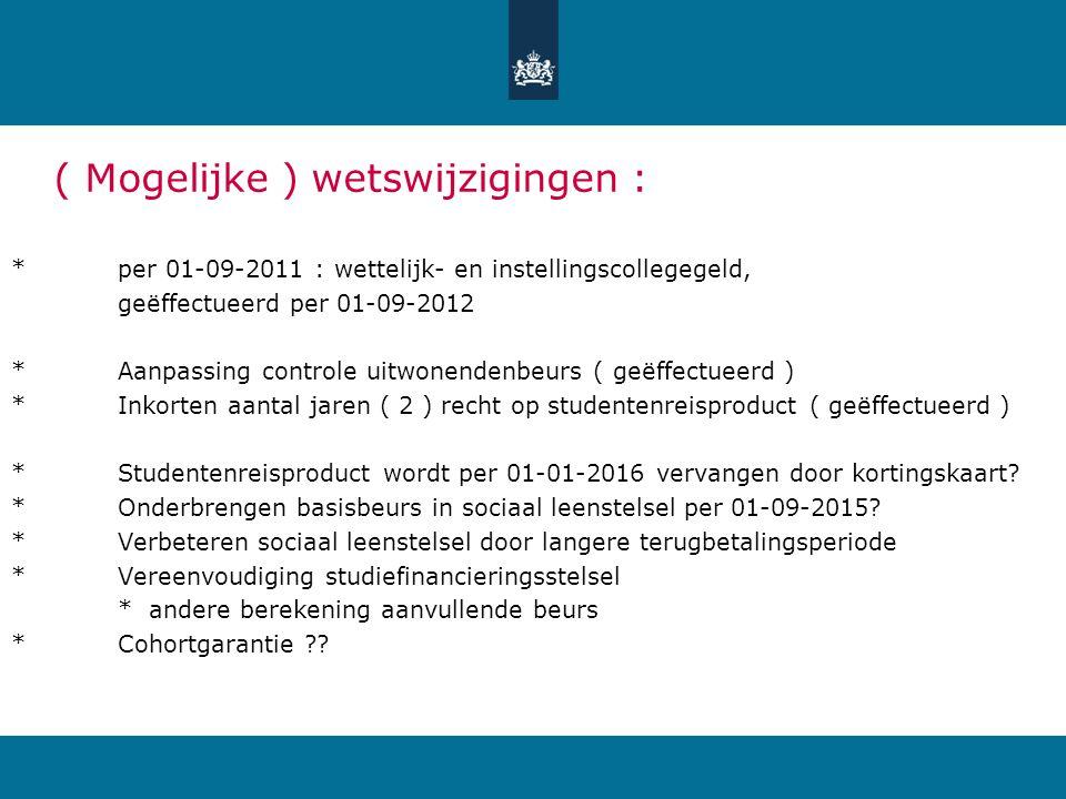 ( Mogelijke ) wetswijzigingen : *per 01-09-2011 : wettelijk- en instellingscollegegeld, geëffectueerd per 01-09-2012 *Aanpassing controle uitwonendenb