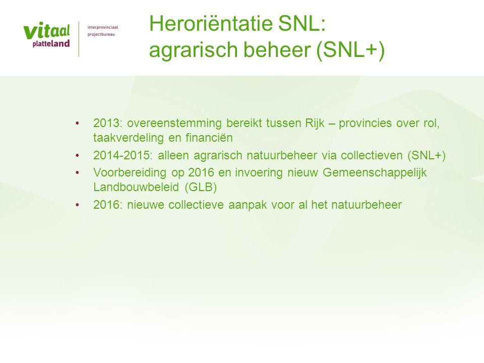 •2013: overeenstemming bereikt tussen Rijk – provincies over rol, taakverdeling en financiën •2014-2015: alleen agrarisch natuurbeheer via collectieve