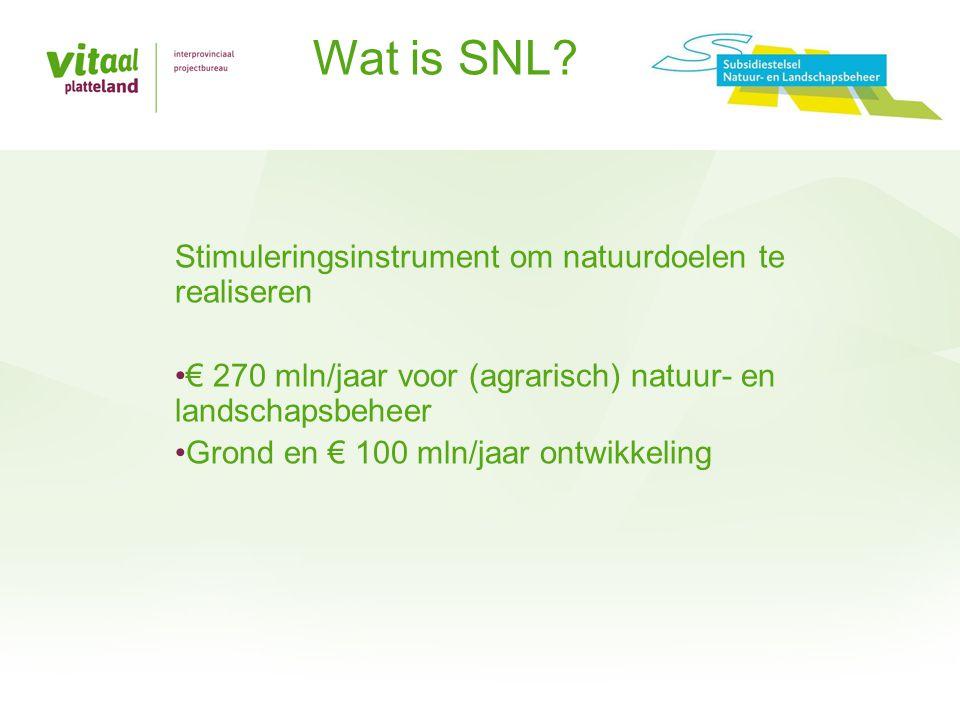 Stimuleringsinstrument om natuurdoelen te realiseren •€ 270 mln/jaar voor (agrarisch) natuur- en landschapsbeheer •Grond en € 100 mln/jaar ontwikkelin