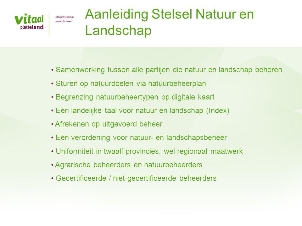 Agrarisch Natuurbeheer • BBO (1980) (eerste uitwerking Relatienota) • RBO (1983 en 1988) • RBON (1995) (doorwerking Natuurbeleidsplan) • Programma Beheer: SAN (2000) en PSAN • Subsidieverordening Natuur- en Landschapsbeheer (2010) Natuurbeheer • TBO-regeling (Terreinbeherende organisaties) • Programma Beheer: SN (2000) en PSN • Subsidieverordening Natuur- en Landschapsbeheer (2011) en Subsidie kwaliteitsimpuls Natuur- en Landschapsbeheer Geschiedenis