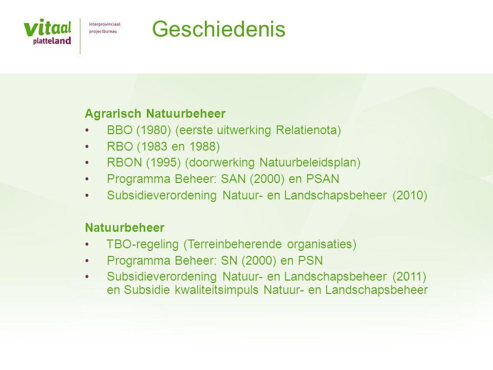 Agrarisch Natuurbeheer • BBO (1980) (eerste uitwerking Relatienota) • RBO (1983 en 1988) • RBON (1995) (doorwerking Natuurbeleidsplan) • Programma Beh