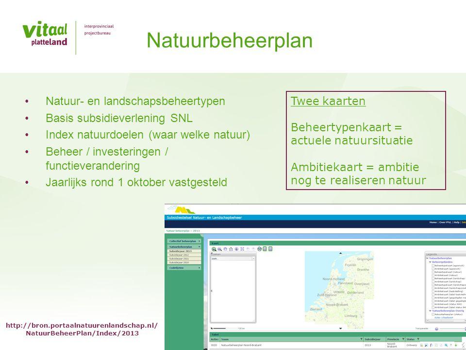 • Natuur- en landschapsbeheertypen • Basis subsidieverlening SNL • Index natuurdoelen (waar welke natuur) • Beheer / investeringen / functieveranderin
