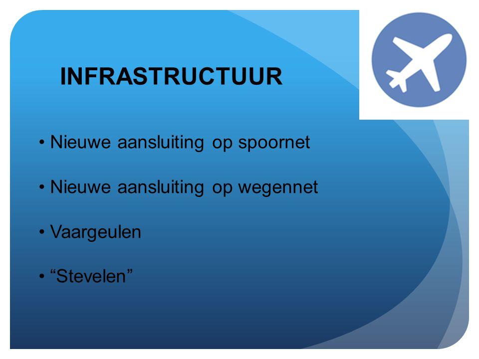 """INFRASTRUCTUUR • Nieuwe aansluiting op spoornet • Nieuwe aansluiting op wegennet • Vaargeulen • """"Stevelen"""""""