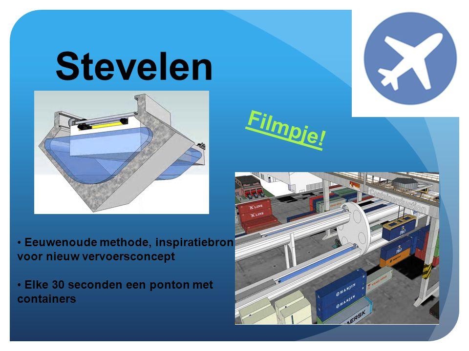 Stevelen • Eeuwenoude methode, inspiratiebron voor nieuw vervoersconcept • Elke 30 seconden een ponton met containers Filmpje!