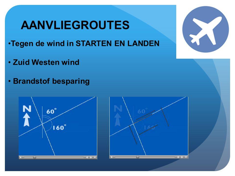 AANVLIEGROUTES •Tegen de wind in STARTEN EN LANDEN • Zuid Westen wind • Brandstof besparing