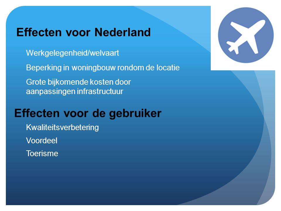 Effecten voor de gebruiker Effecten voor Nederland Werkgelegenheid/welvaart Beperking in woningbouw rondom de locatie Grote bijkomende kosten door aanpassingen infrastructuur Kwaliteitsverbetering Voordeel Toerisme