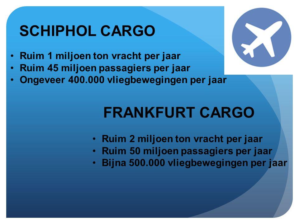 SCHIPHOL CARGO •Ruim 1 miljoen ton vracht per jaar •Ruim 45 miljoen passagiers per jaar •Ongeveer 400.000 vliegbewegingen per jaar FRANKFURT CARGO •Ruim 2 miljoen ton vracht per jaar •Ruim 50 miljoen passagiers per jaar •Bijna 500.000 vliegbewegingen per jaar