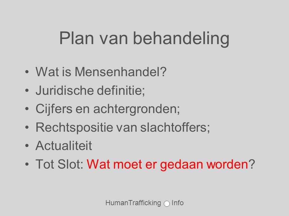 HumanTrafficking Info Plan van behandeling •Wat is Mensenhandel.