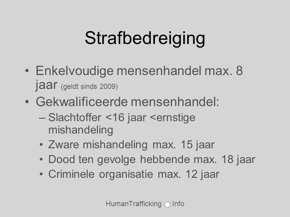 HumanTrafficking Info Strafbedreiging •Enkelvoudige mensenhandel max.