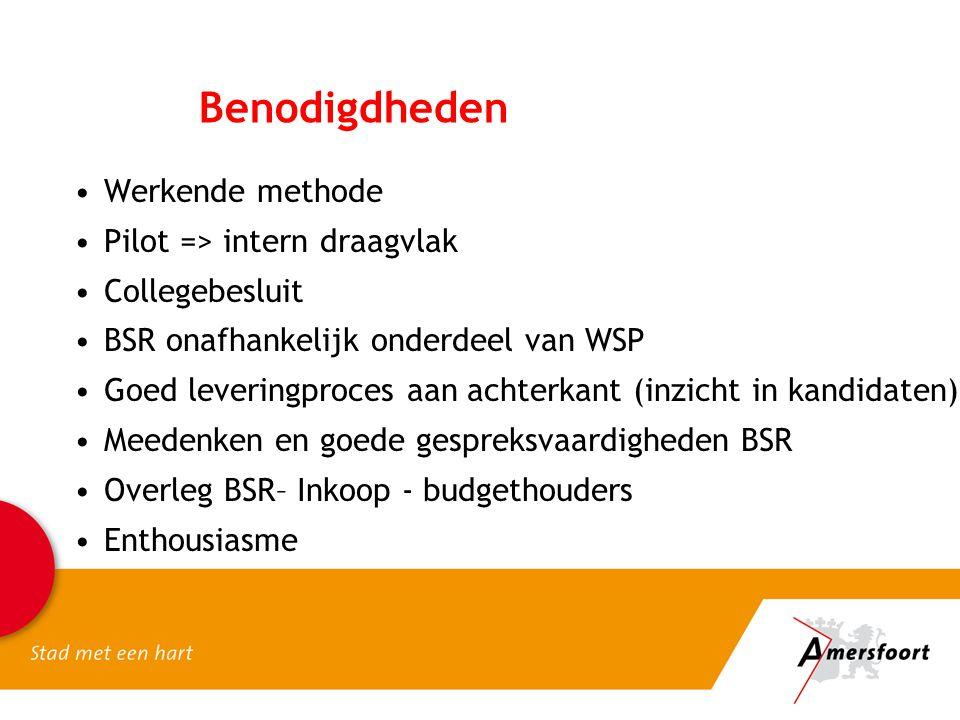 Benodigdheden •Werkende methode •Pilot => intern draagvlak •Collegebesluit •BSR onafhankelijk onderdeel van WSP •Goed leveringproces aan achterkant (i