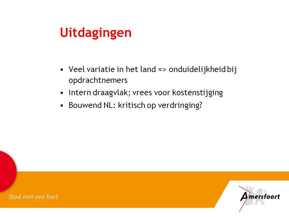 Uitdagingen •Veel variatie in het land => onduidelijkheid bij opdrachtnemers •Intern draagvlak; vrees voor kostenstijging •Bouwend NL: kritisch op ver