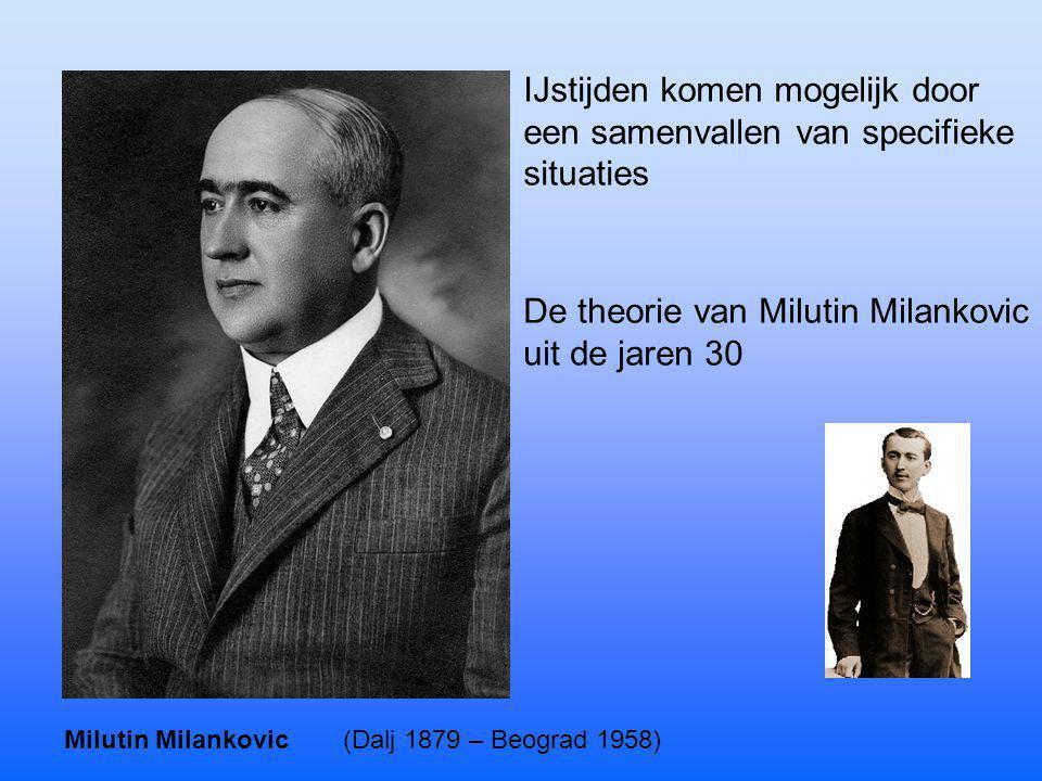 Milutin Milankovic(Dalj 1879 – Beograd 1958) IJstijden komen mogelijk door een samenvallen van specifieke situaties De theorie van Milutin Milankovic