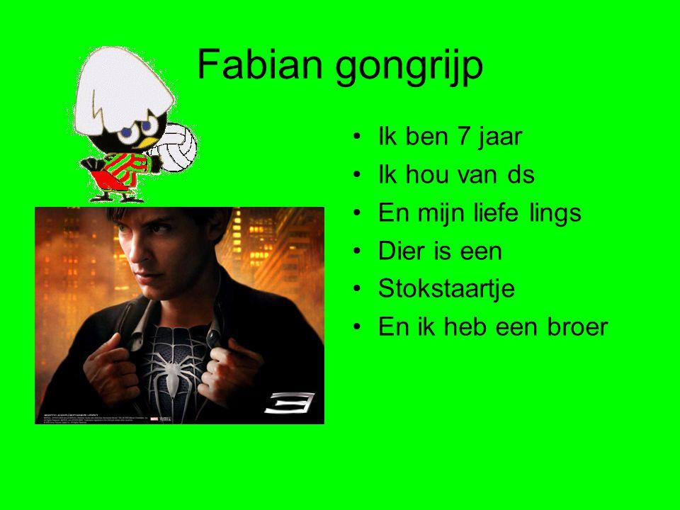 Fabian gongrijp •Ik ben 7 jaar •Ik hou van ds •En mijn liefe lings •Dier is een •Stokstaartje •En ik heb een broer