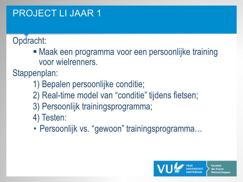 PROJECT LI JAAR 1 Opdracht:  Maak een programma voor een persoonlijke training voor wielrenners. Stappenplan: 1) Bepalen persoonlijke conditie; 2) Re