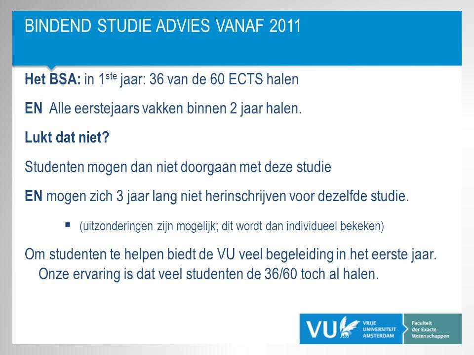 BINDEND STUDIE ADVIES VANAF 2011 Het BSA: in 1 ste jaar: 36 van de 60 ECTS halen EN Alle eerstejaars vakken binnen 2 jaar halen. Lukt dat niet? Studen