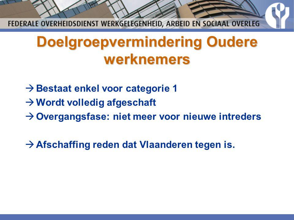 Doelgroepvermindering Oudere werknemers  Bestaat enkel voor categorie 1  Wordt volledig afgeschaft  Overgangsfase: niet meer voor nieuwe intreders