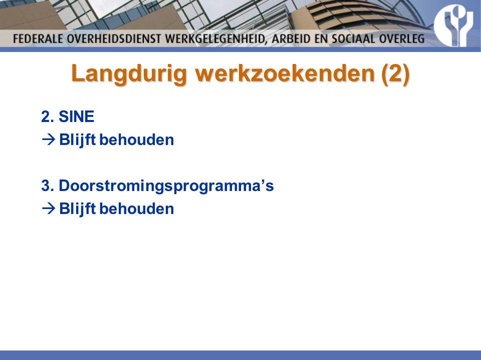 Langdurig werkzoekenden (2) 2. SINE  Blijft behouden 3. Doorstromingsprogramma's  Blijft behouden