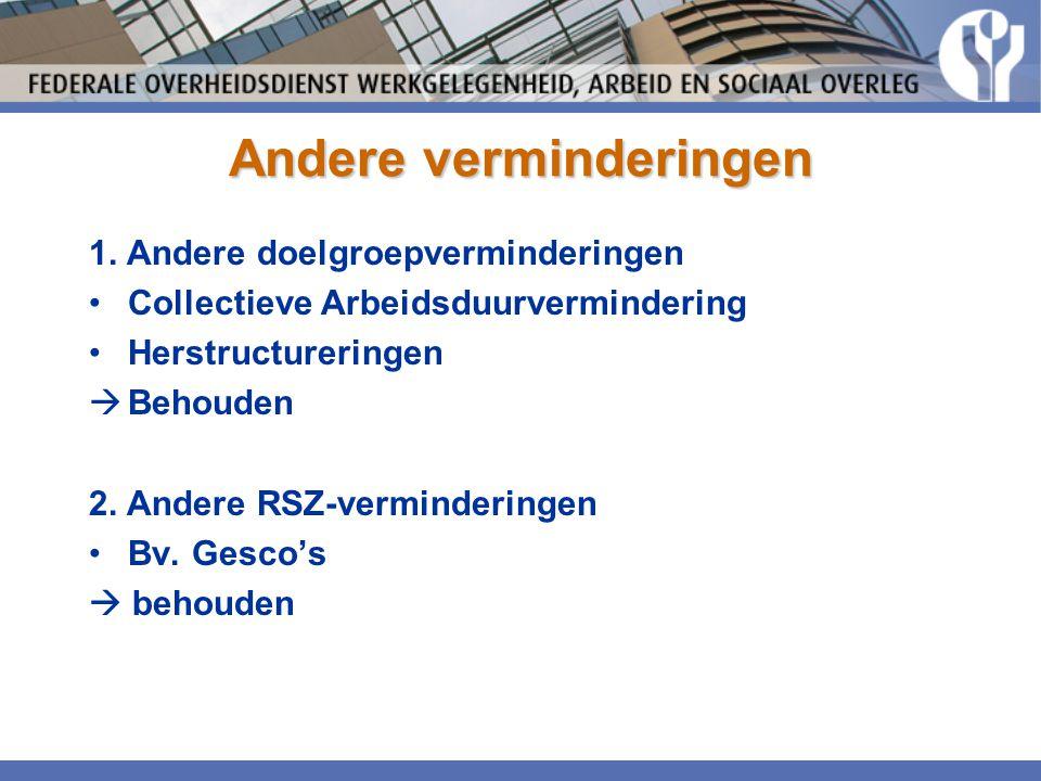 Andere verminderingen 1. Andere doelgroepverminderingen •Collectieve Arbeidsduurvermindering •Herstructureringen  Behouden 2. Andere RSZ-vermindering