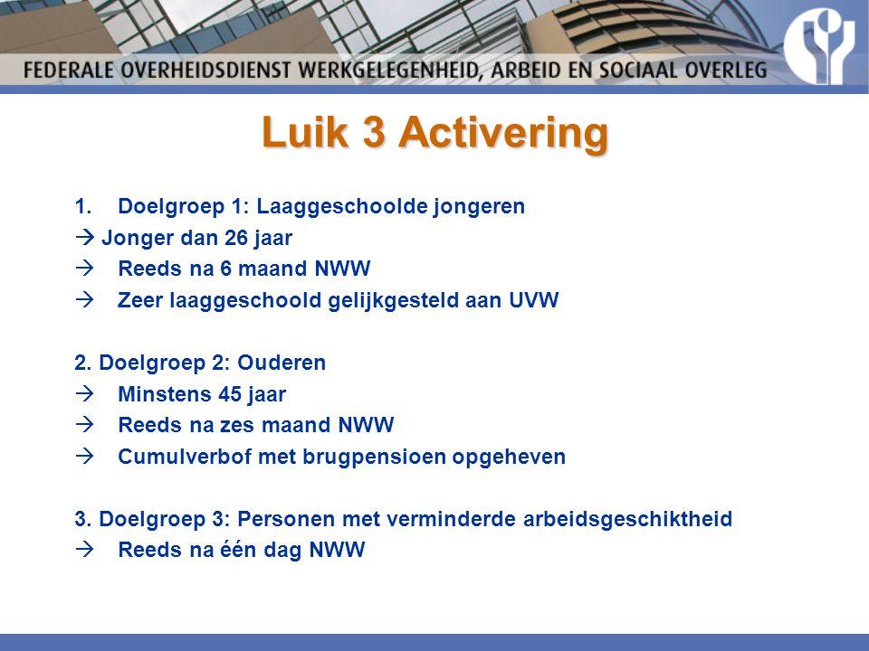 Luik 3 Activering 1.Doelgroep 1: Laaggeschoolde jongeren  Jonger dan 26 jaar  Reeds na 6 maand NWW  Zeer laaggeschoold gelijkgesteld aan UVW 2. Doe