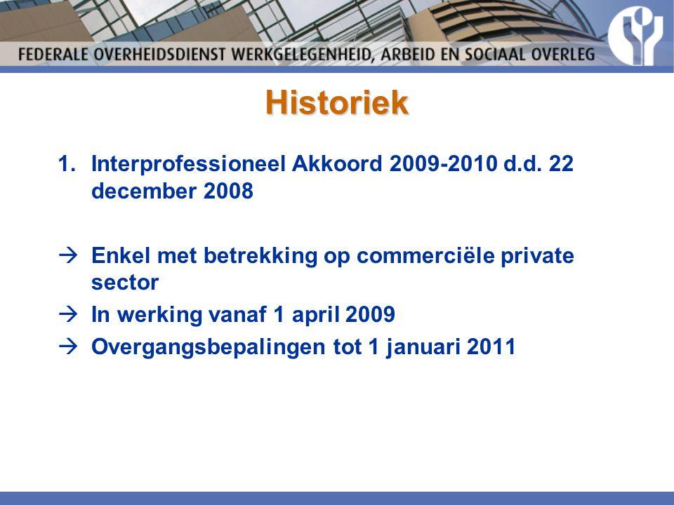 Historiek 1.Interprofessioneel Akkoord 2009-2010 d.d. 22 december 2008  Enkel met betrekking op commerciële private sector  In werking vanaf 1 april