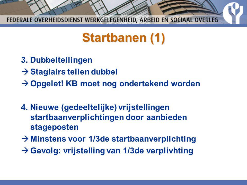 Startbanen (1) 3. Dubbeltellingen  Stagiairs tellen dubbel  Opgelet! KB moet nog ondertekend worden 4. Nieuwe (gedeeltelijke) vrijstellingen startba