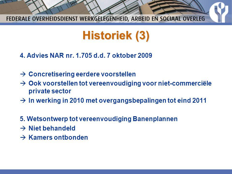 Historiek (3) 4. Advies NAR nr. 1.705 d.d. 7 oktober 2009  Concretisering eerdere voorstellen  Ook voorstellen tot vereenvoudiging voor niet-commerc