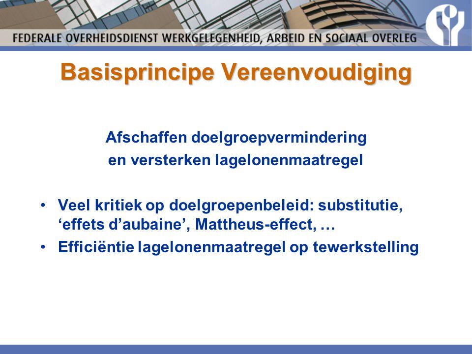 Basisprincipe Vereenvoudiging Afschaffen doelgroepvermindering en versterken lagelonenmaatregel •Veel kritiek op doelgroepenbeleid: substitutie, 'effe