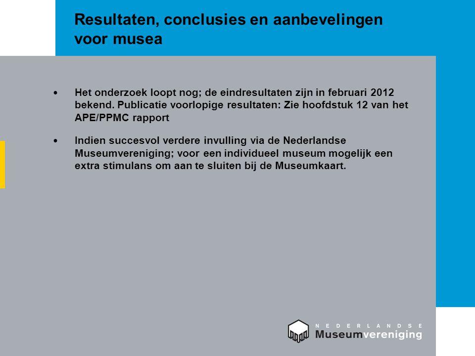 Resultaten, conclusies en aanbevelingen voor musea  Het onderzoek loopt nog; de eindresultaten zijn in februari 2012 bekend. Publicatie voorlopige re